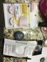 "Trying the ""natural"" eyelashes & eyebrow pomade from the beauty supply store."
